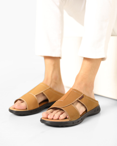 Genuine Leather Slippers With Cut-Outs By RED CHIEF ( Brown )