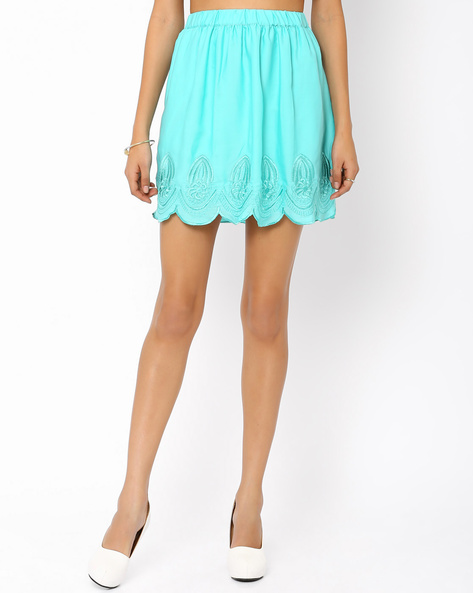 Satin Mini Skirt By AJIO ( Aqua )