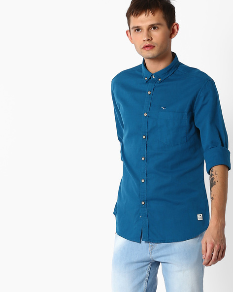 Shirt With Button-Down Collar By FLYING MACHINE ( Green )