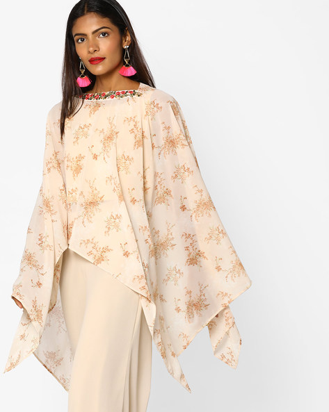 Floral Print Cape Top By AJIO ( Offwhite )