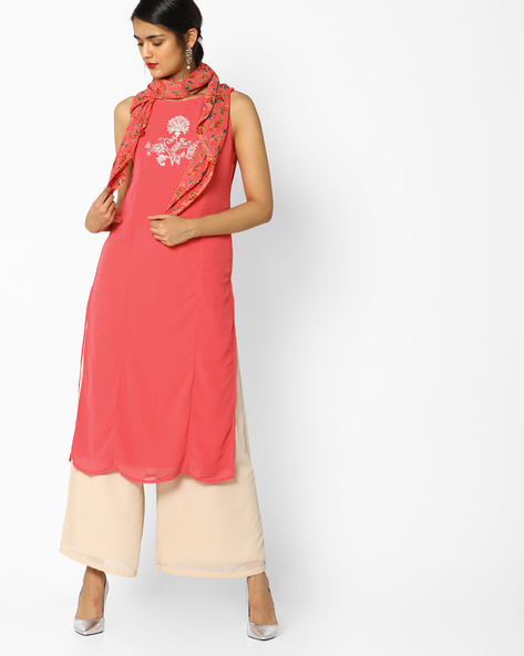 Embroidered Kurta With Printed Dupatta By AJIO ( Pink )