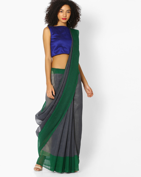 Chiffon Saree With Contrast Border By Vastrangi ( Grey ) - 460108481001