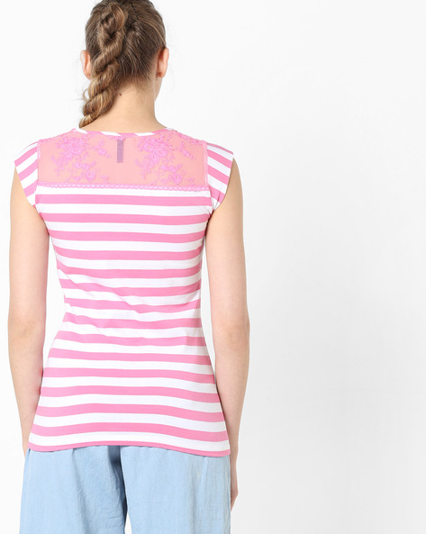 Striped T-shirt With Cap Sleeves By KRAUS ( White )