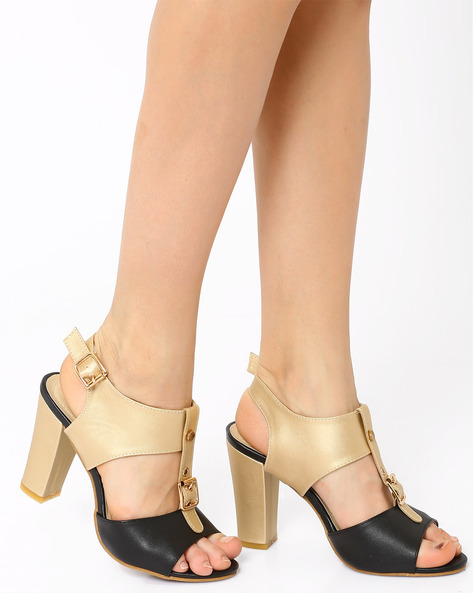 Colourblock Heels By MFT Couture ( Black )