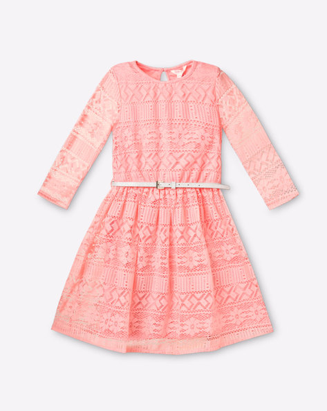 Fit & Flare Lace Dress By POINT COVE ( Pink )