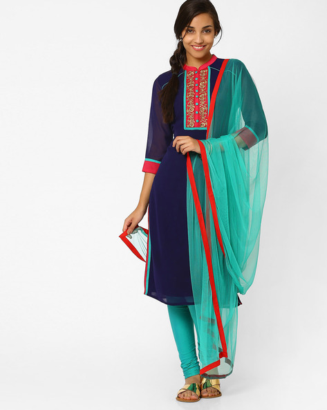 Dupatta With Contrast Taping By AJIO ( Teal )