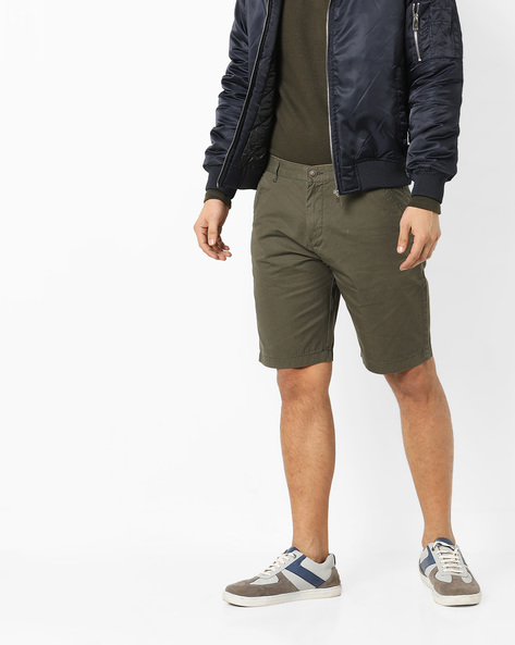 Flat-Front City Shorts By AJIO ( Olive )