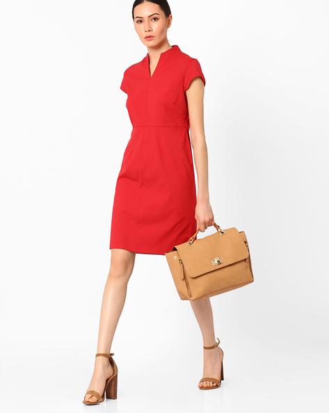 High-Neck Sheath Dress By AJIO ( Red )