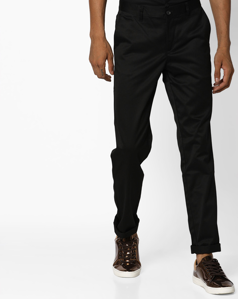 Slim Fit Flat-Front Chinos By JOHN PLAYERS ( Black )