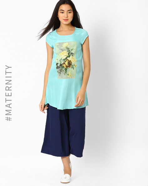 Digital Print High-Low Maternity Tunic By AJIO ( Aqua )