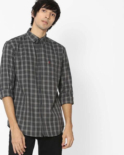 Slim Fit Checked Shirt By British Club ( Black )