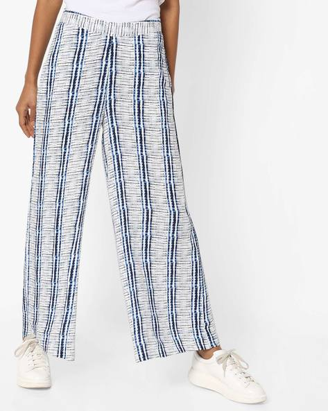 Printed Palazzo Pants By AJIO ( Blue )