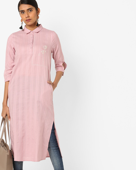 Self-Striped Kurta With Floral Embroidery By AJIO ( Mauve )
