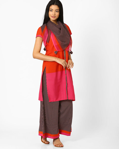 Printed Kurta With Palazzos & Dupatta By AVAASA SET ( Orange )