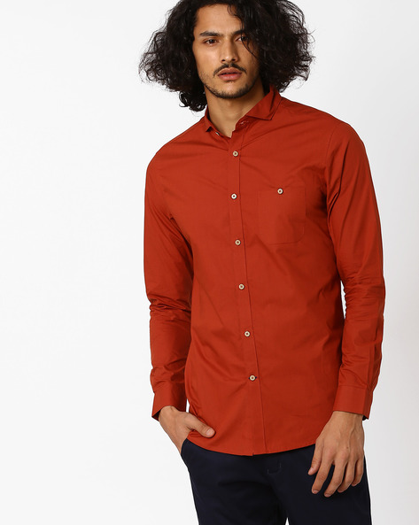 Slim Fit Shirt With Cutaway Collar By MR.BUTTON ( Orange )