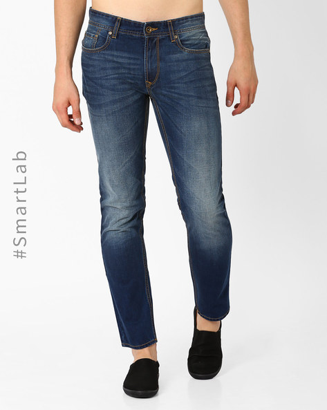 Slim Tapered N9-Treated Anti-Odour Jeans By AJIO ( Dkblue )