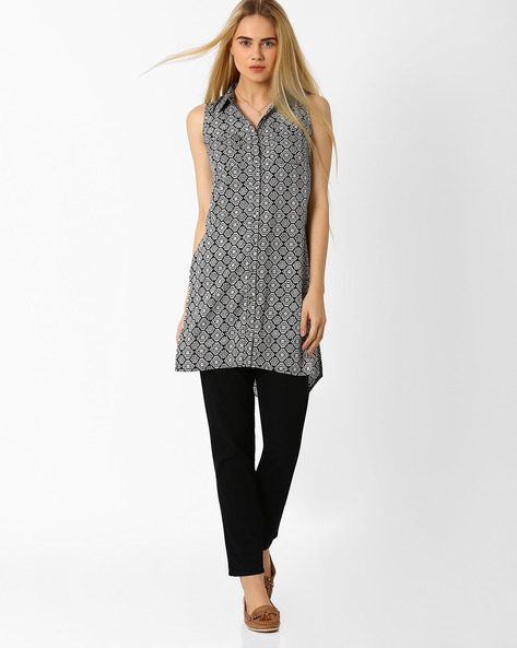 Printed Tunic With High-Low Hem By Izabel London By Pantaloons ( Black )