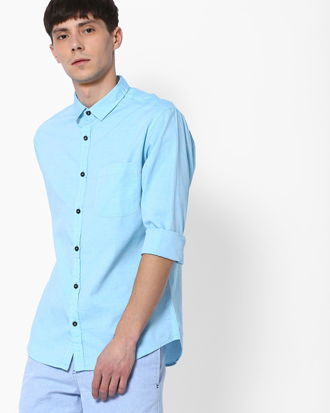 Classic Slim Fit Shirt With Patch Pocket By AJIO ( Green )
