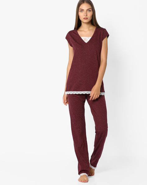T-shirt Pyjama Set With Speckle Effect By Mystere Paris ( Maroon )