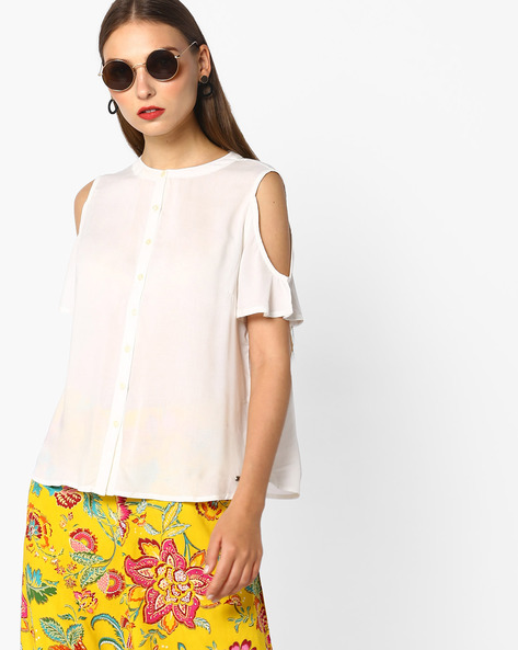 Cold-Shoulder Shirt With Floral Embroidery By Pepe Jeans ( Offwhite )