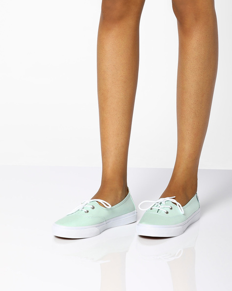 Casual Lace-Up Sneakers By Vans ( Green )