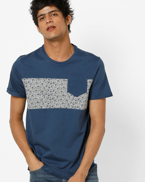 Crew-Neck T-shirt With Printed Panel By AJIO ( Darkblue )