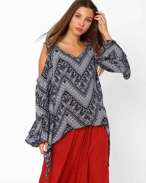 Printed Cold-Shoulder Top By Rena Love ( Blue )