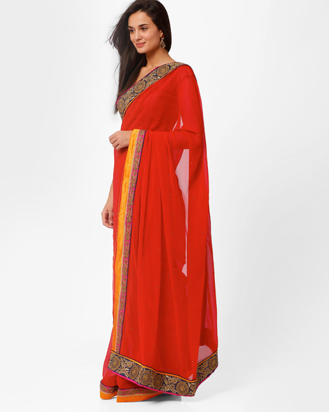 Emrboidered Chiffon Saree With Embellishments By Akoya ( Red )