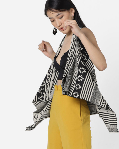 Aztec Print Waterfall Shrug By Ginger By Lifestyle ( Black )