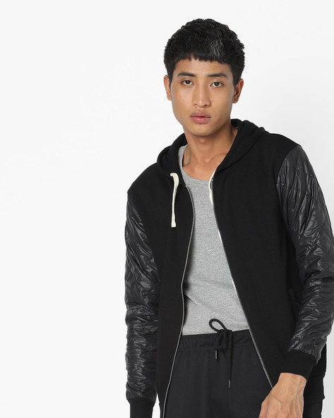 Hooded Jacket With Quilted Sleeves By Campus Sutra ( Black )
