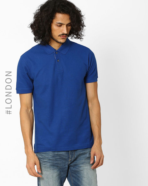 Pure Cotton Polo T-Shirt With StayNEW By Marks & Spencer ( Indigo )