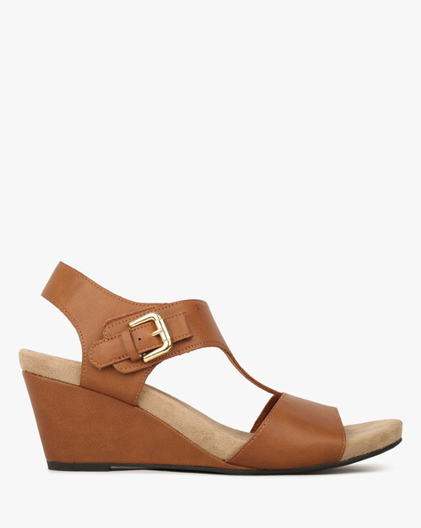 Slingback Strappy Wedges With Buckle Closure By COMFORT PLUS ( Brown )