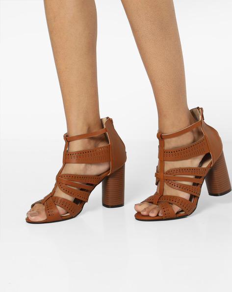 Strappy Heeled Sandals By MFT Couture ( Camel )