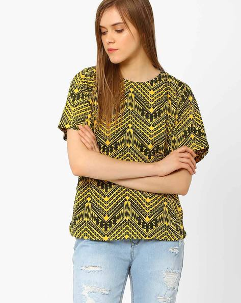 Printed Top With Curved Hem By CHM ( Assorted )