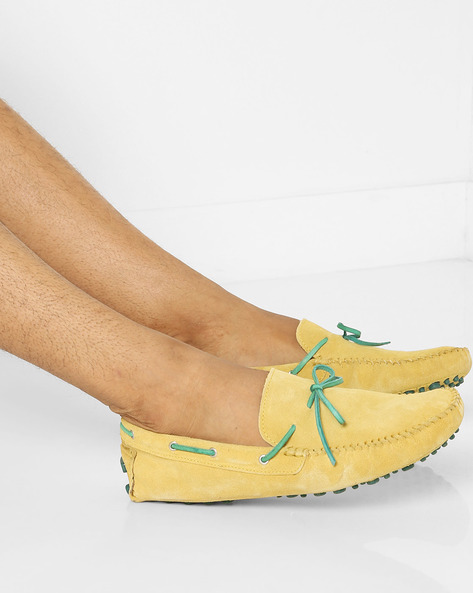 N9-Treated Boat Shoes With Moc-Stitched Upper By AJIO ( Mustard )