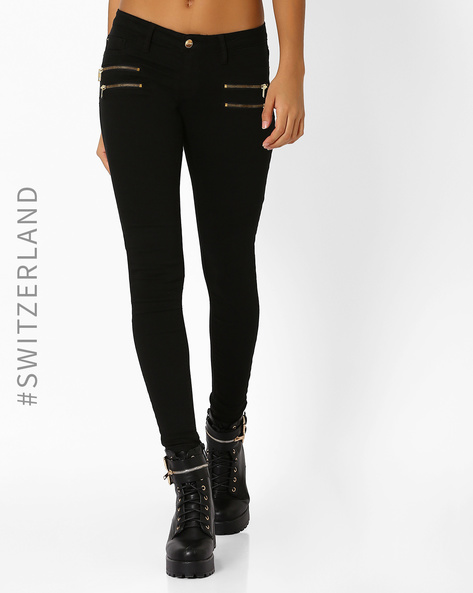 Skinny Trousers With Zip Detail By TALLY WEiJL ( Black )