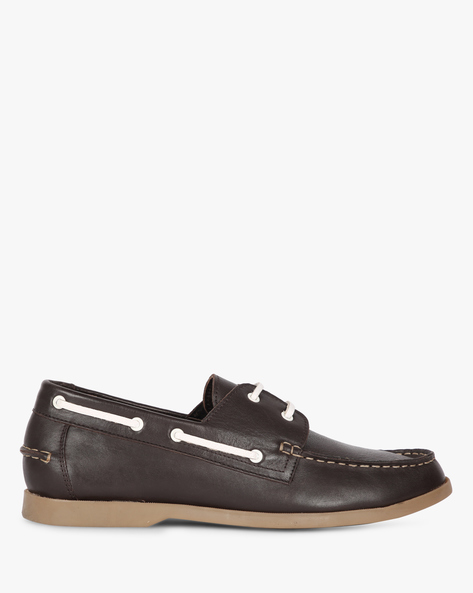 Textured Formal Lace-Up Shoes By Buckle Up ( Brown )