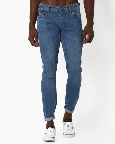 Skinny Fit Whiskered Jeans By DNM X ( Mediumblue )