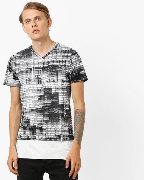 Abstract Print Slim Fit Longline T-shirt By KULTPRIT ( Black )