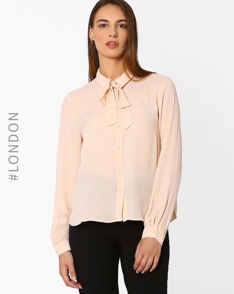 Long Sleeve Bow Blouse By Marks & Spencer ( Offwhite )