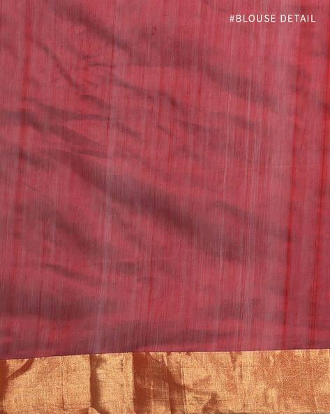 Handloom Pure Silk Cotton Chanderi Saree By Indie Picks ( Maroon )