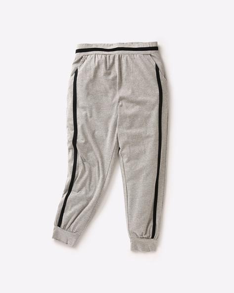 Cuffed Track Pant With Contrast Stripes By AJIO ( Greymelange )