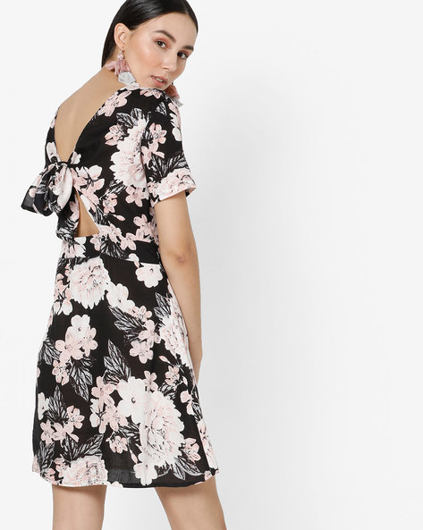 Floral Print A-line Dress With Tie-Up Back By AJIO ( Navy )