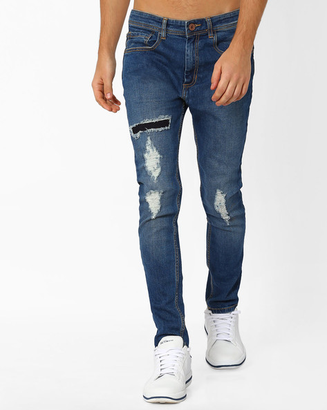 Skinny Distressed Jeans By ADAMO LONDON ( Lightblue )