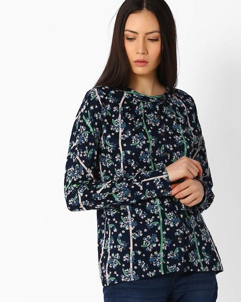 Printed Shirt With Full Sleeves By DNMX ( Navy )