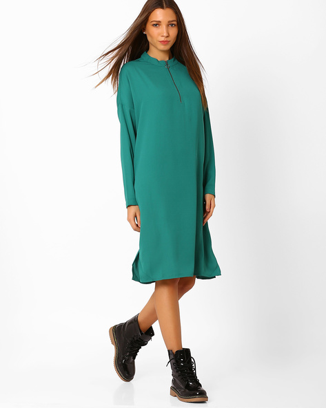 Collared Dress With Slits By Vero Moda ( Green )