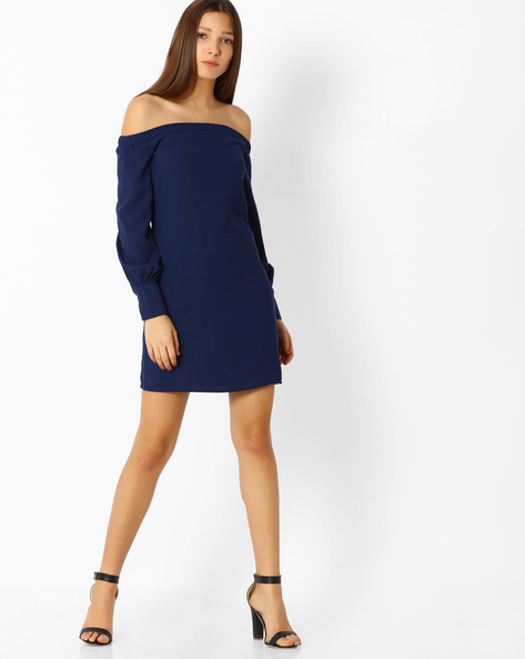 Off-Shoulder Dress With Bishop Sleeves By Femella ( Navyblue )