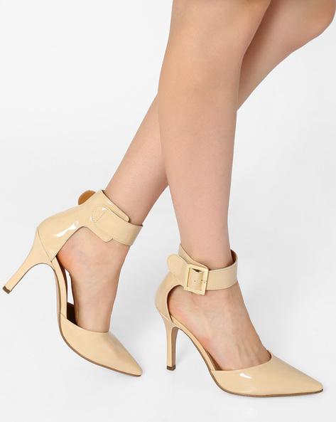 Pointy-Toe Stilettos With Ankle Strap By AJIO ( Lgtpink )