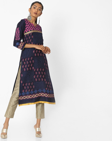 All-Over Print Straight Kurta By KIMONO ( Navyblue )