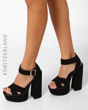 Chunky High-Heeled Sandals